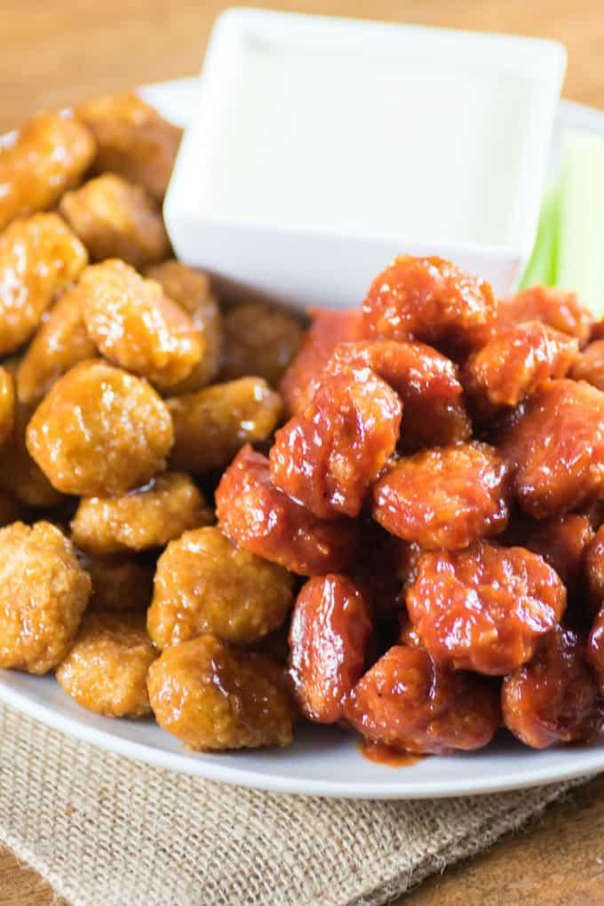 Teriyaki and BBQ Popcorn Chicken