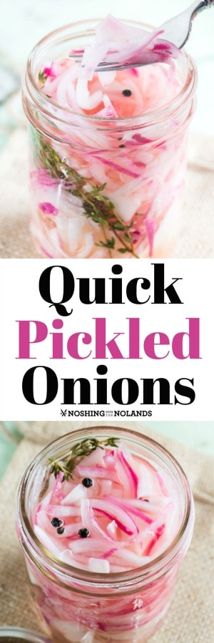 Quick Pickled Onions are a snap to make and are great on sandwiches, tacos, burritos, salads and more.