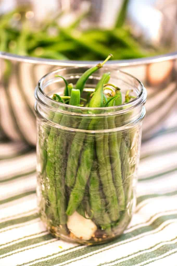 Fresh Green Beans in a Pint Jar ready to be pickled.