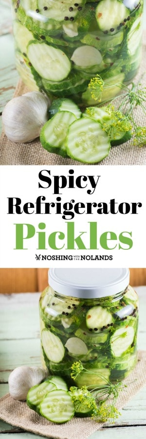 Spicy Refrigerator Pickles are sliced up and brined with a little heat.