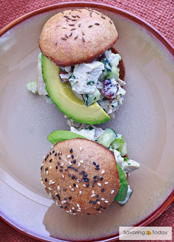 Healthy Cranberry-Avocado Turkey Salad on buns