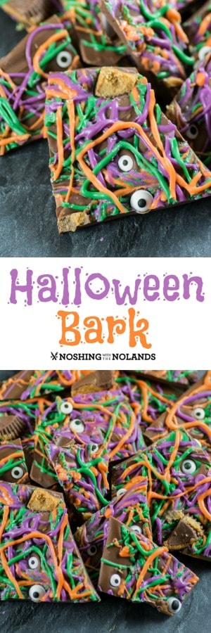 Halloween Bark is fun to make and delicious to eat. #Halloween #bark #candy #trickortreat