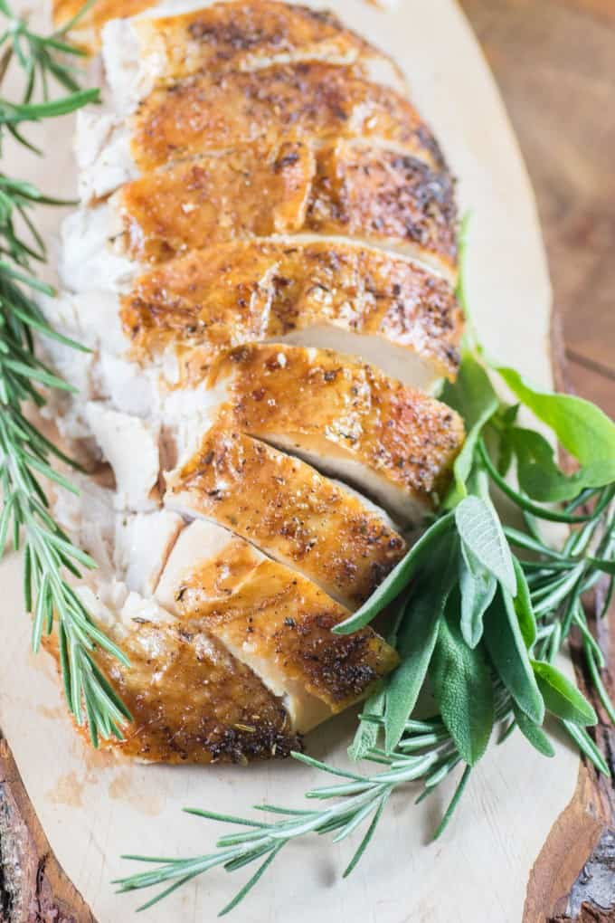 Sliced Turkey Breast with fresh herbs- turkey recipes