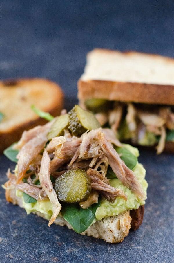 OPen Roasted Turkey Avocado Sandwich with pickles