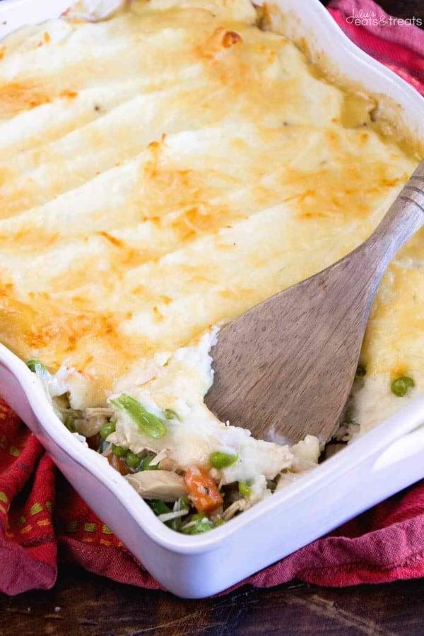 Turkey Shepherd's pie in a white casserole
