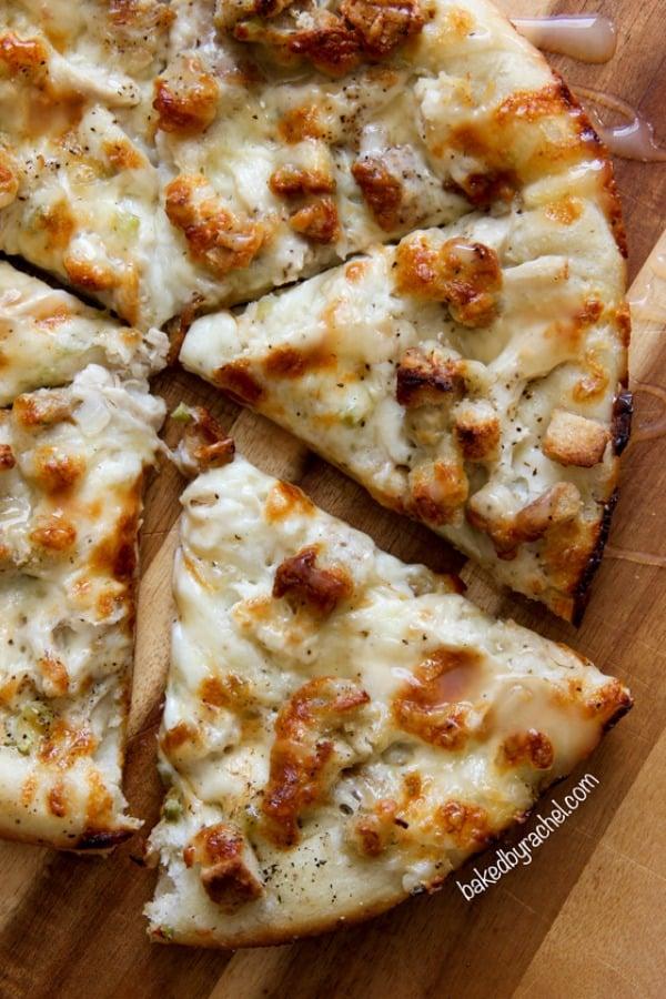 Turkey pizza on a cutting board