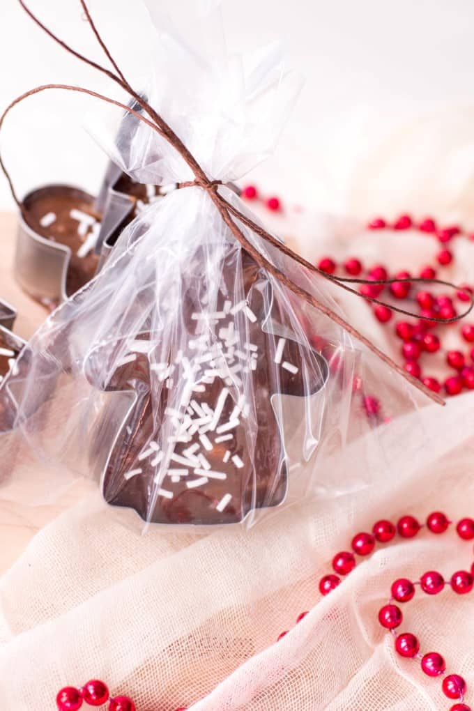 Cookie Cutter Christmas Fudge wrapped in cello standing up.