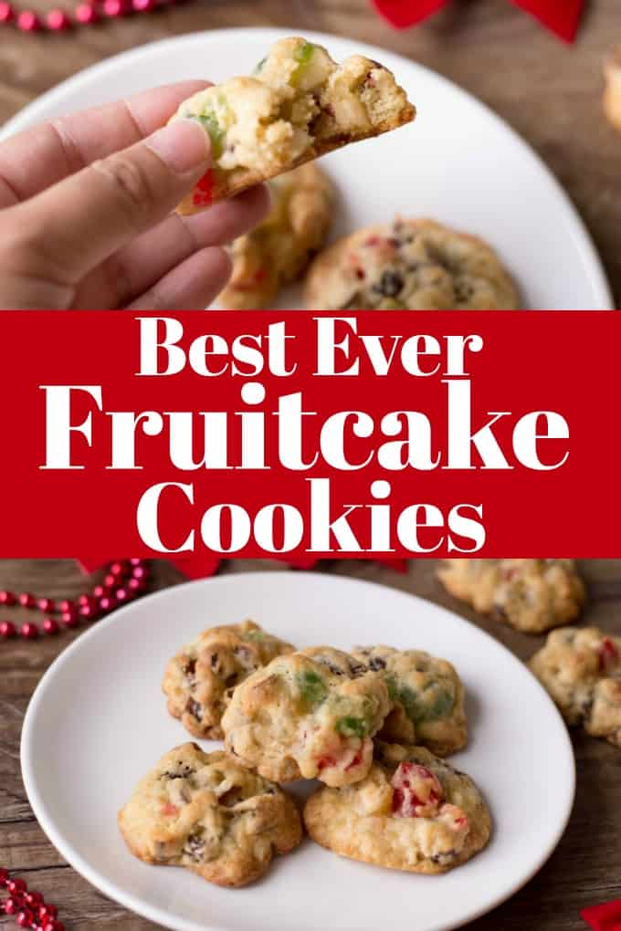 Best Ever Fruitcake Cookies tastes like Christmas in a bite!! You will want to make a double batch! #Christmascookies #fruitcake #cookies #fruitandnut