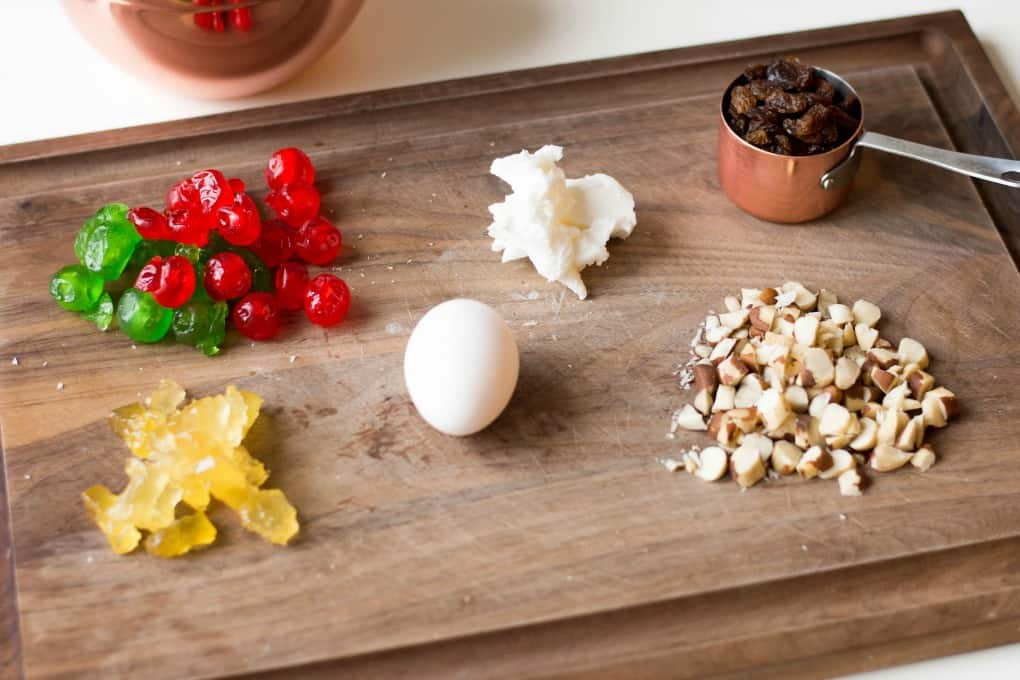 Ingredients on a board for Best Ever Fruitcake Cookies