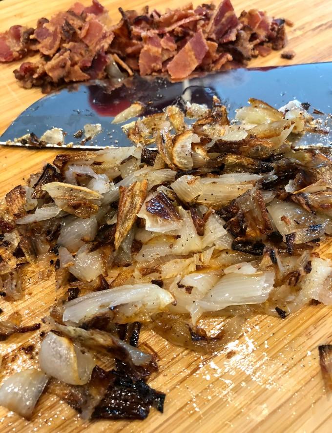 Chopped Roasted Shallots and Bacon
