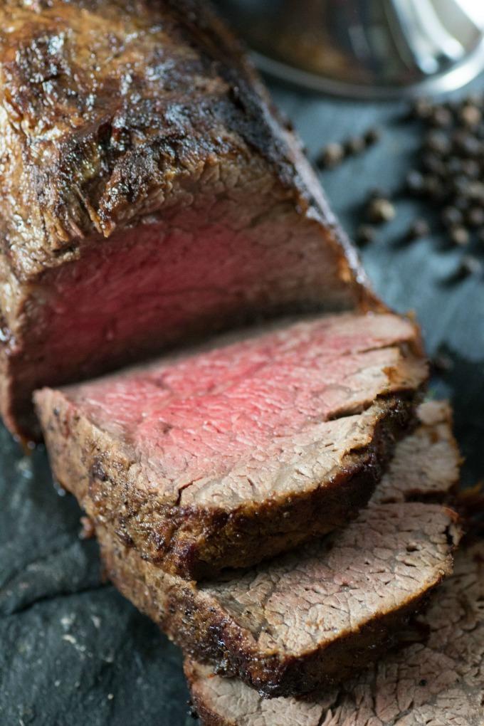 Sliced medium rare beef tenderloin