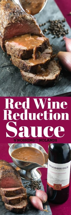 Red Wine Reduction with Roasted Shallots and Bacon will make any steak or roast gourmet. Perfect for holiday entertaining.