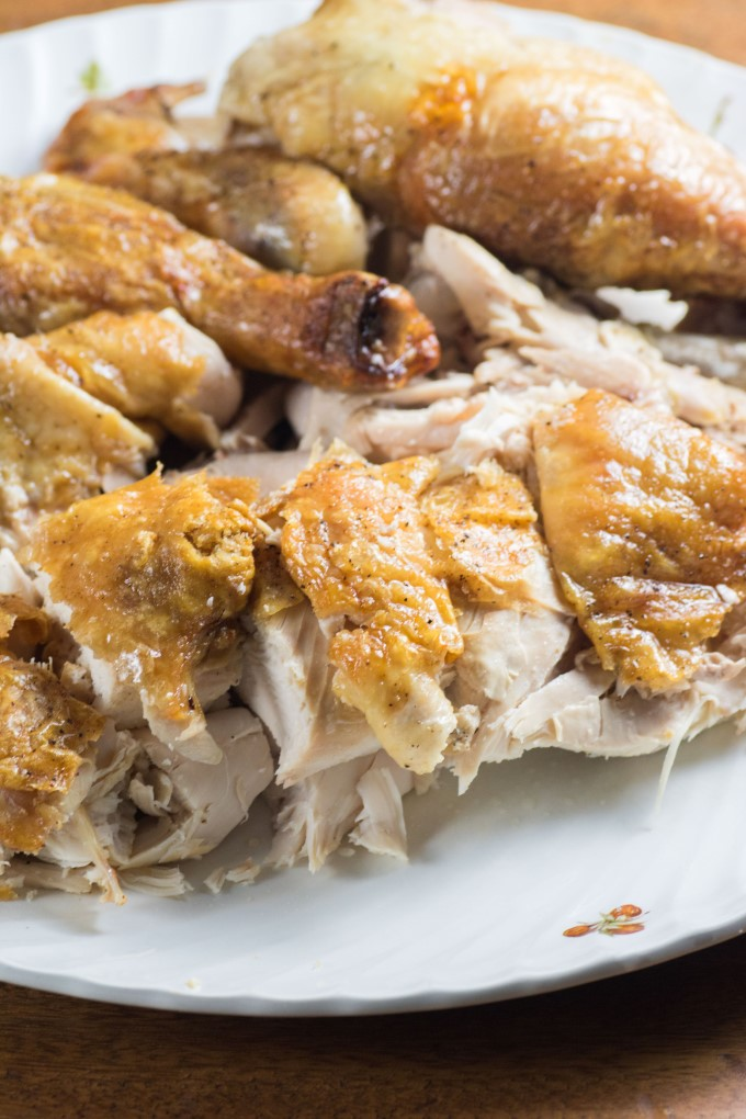 Sliced chicken on a plate
