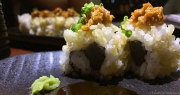 Spicy tuna sushi roll, at Kuuraku
