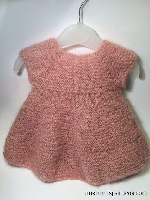 bb020a706 Vestido bebe tejido con dos agujas. - No sin mis patucos
