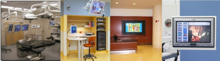 Various technology systems for the medical industry. From operating rooms technology, meeting rooms, training rooms, lecture rooms to digital signage and desktop web conferencing