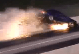 So how fast do you think this Mustang was going at the end to do this damage?