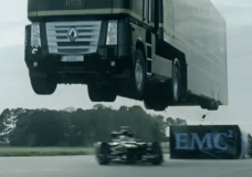 Truck jumps F1 car