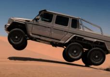 A Mercedes Benz 6x6 getting a little bit of air in the desert