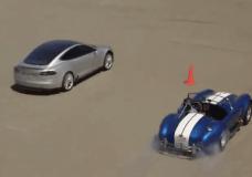 Jay Leno in Cobra racing a Tesla