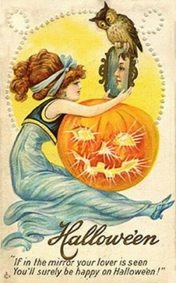 vintage-halloween-woman-mirror-pumpkin