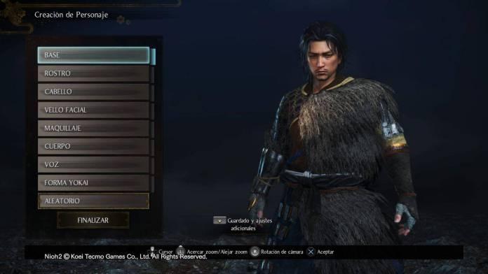 Nioh 2 editor de personaje