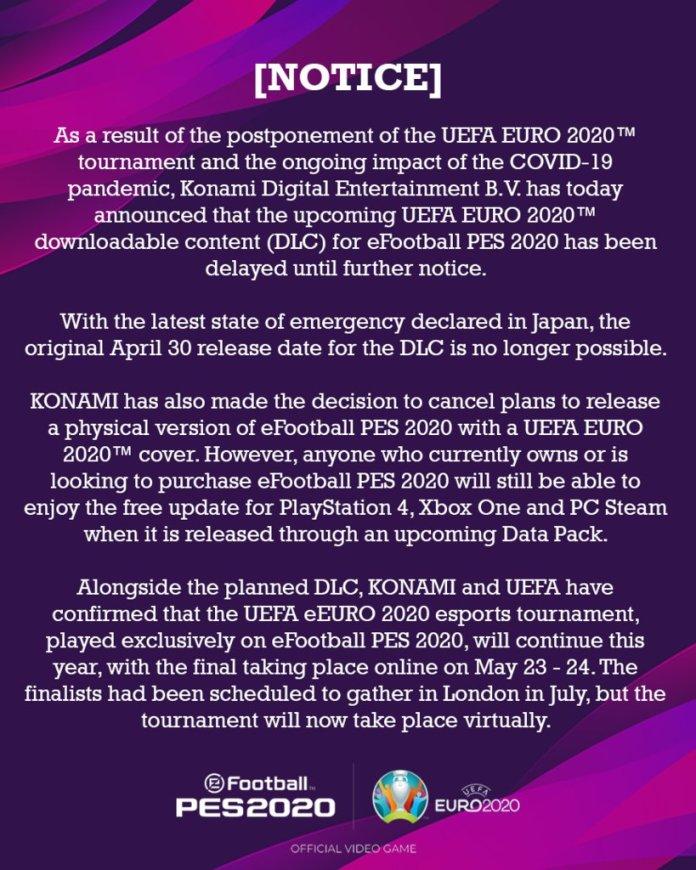 efootball pes 2020 cancelacion dlc euro 2020