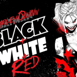 dc harley quinn black and white and red