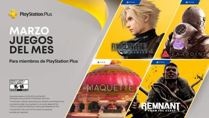 PlayStation Plus de Marzo 2021 traerá Final Fantasy VII Remake y tres juegos más 1