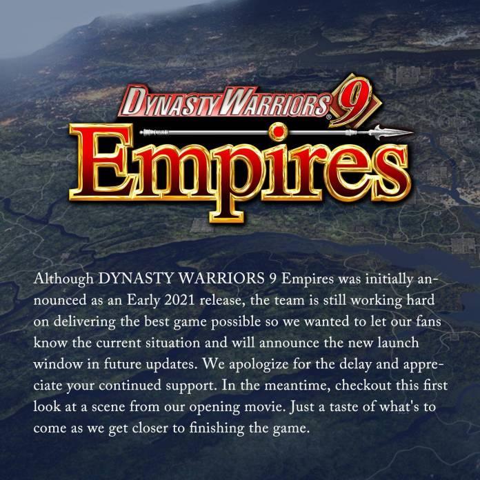 Dynasty Warriors 9 Empires retrasado indefinidamente 1
