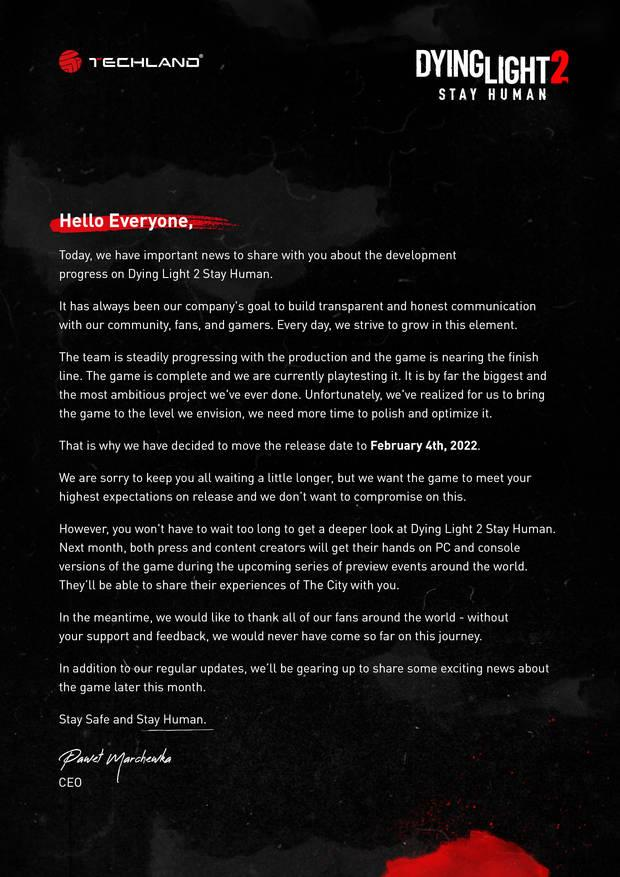 Dying Light 2: Stay Human se vuelve a retrasar 1