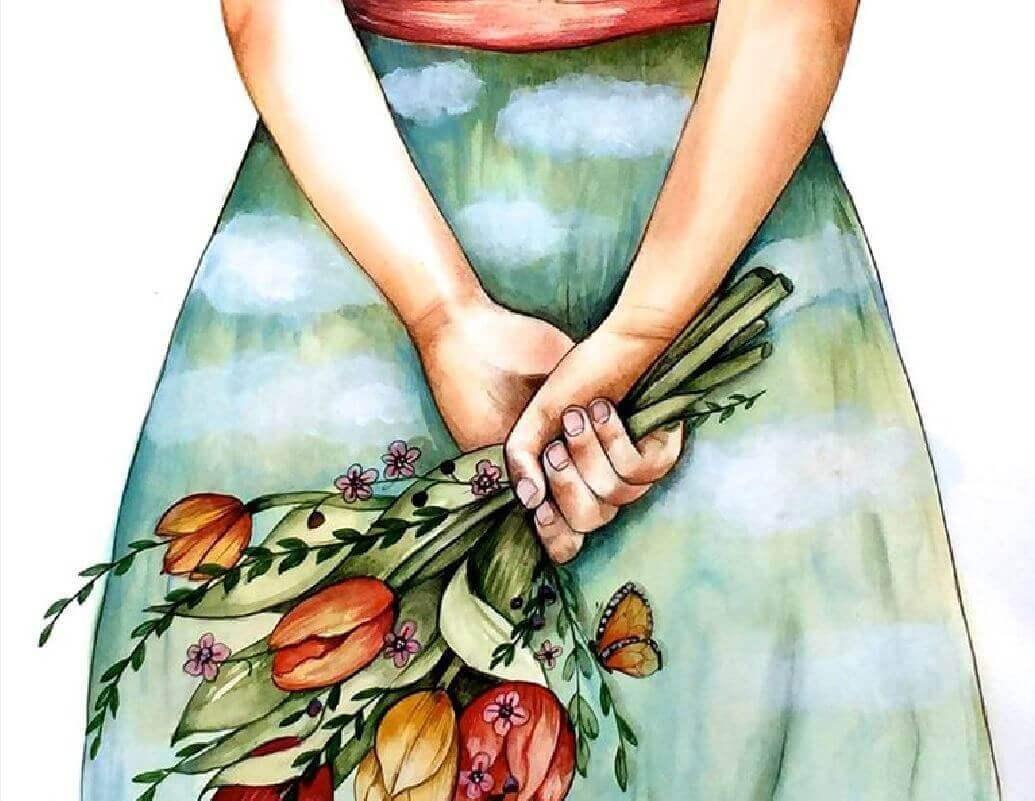 femme-bouquet-de-fleurs