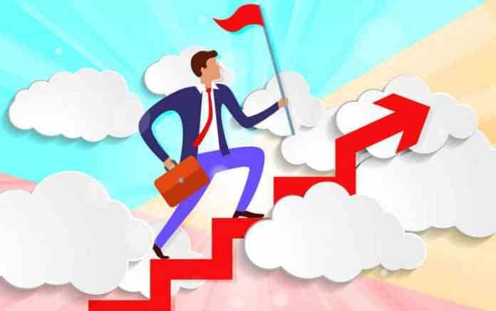 Desejo de Ser Bem-Sucedido: Homem subindo escadas (ilustração)