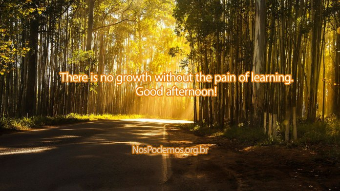There is no growth without the pain of learning. Good afternoon!