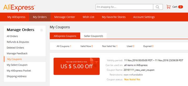 Kupon zniżkowy 5$ za nową rejestrację - widok z panelu użytkownika
