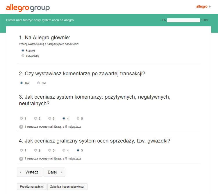 Ankieta oceniająca system ocen i komentarzy na Allegro - NoSpoon.pl