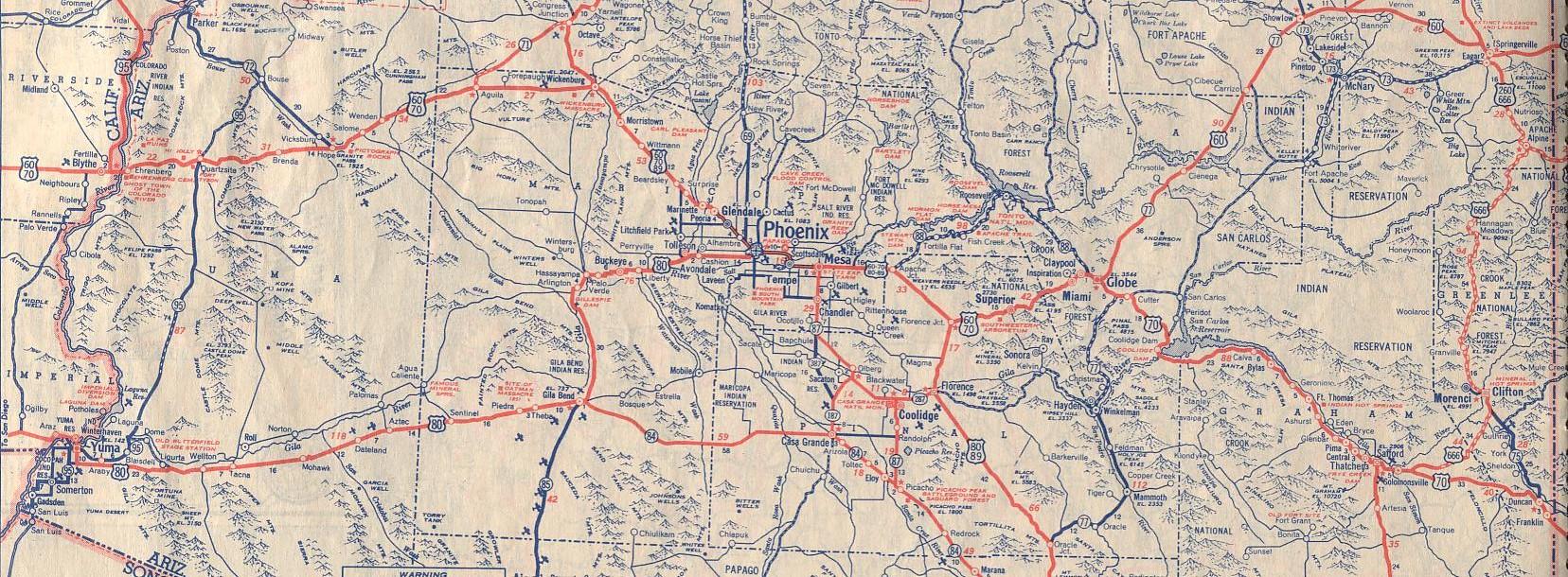 Historic U S Highway 70 Through Arizona On Vintage Postcards
