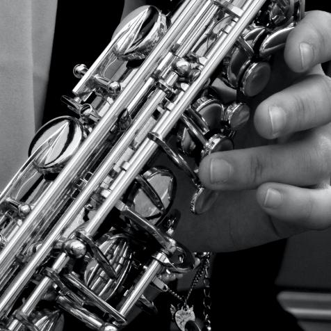 Closeup of saxophone playing