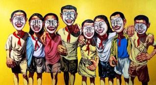 Mask Series N°6, huile sur toile, 200x360 cm, 1996, collection particulière