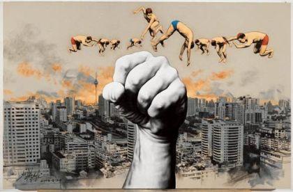 Sounds of Nature, fusain et acrilyque sur toile, 200x280 cm, 2008