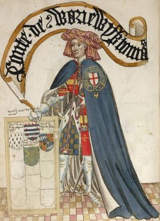 Thomas Beauchamp, Comte de Warwick, Bruges Garter Book, 1430/1440 - © British Library, London