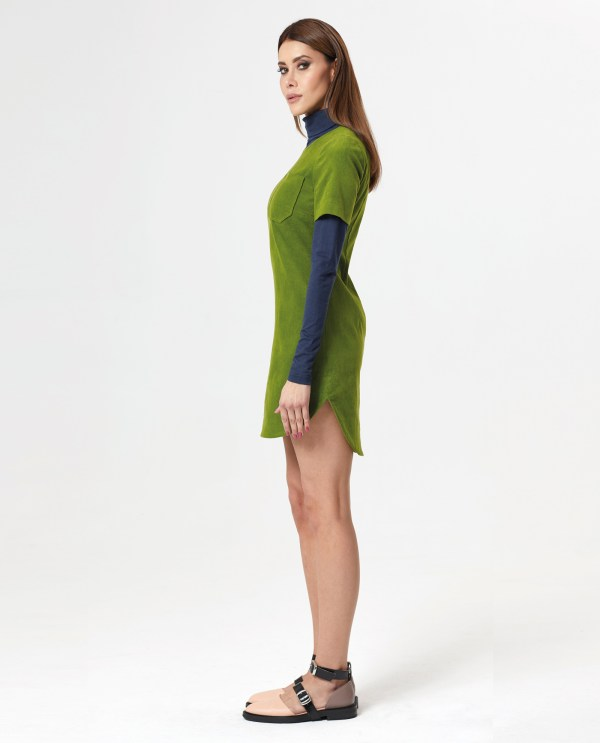 Velvet Pocket Dress_green_Merino Wool Jersey Golf_ocean_03