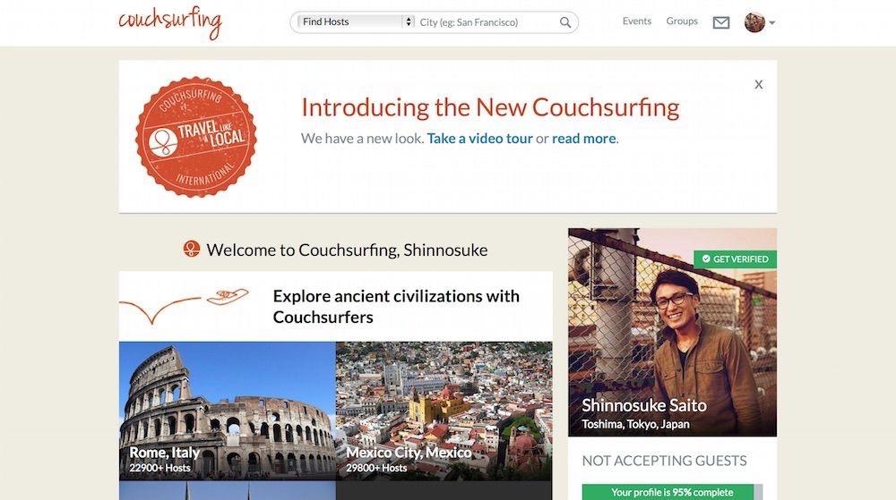 【最新版】「Couchsurfing(カウチサーフィン)」の使い方