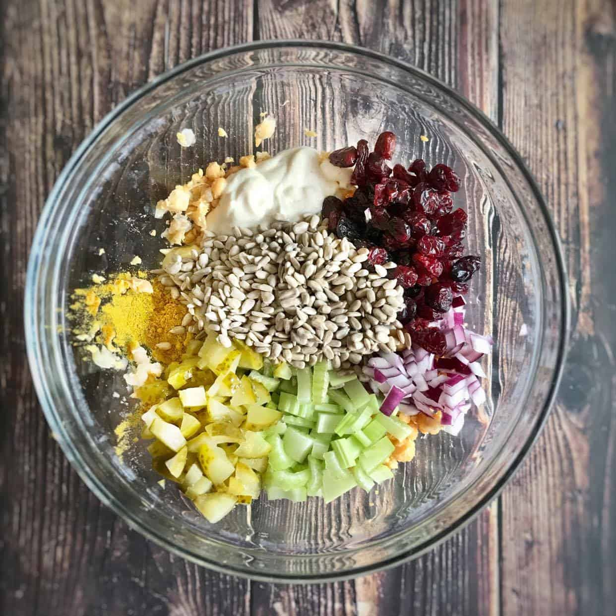 oil free vegan chickpea salad preparation