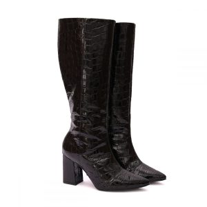 Bota Feminina Over The Knee Croco Preta