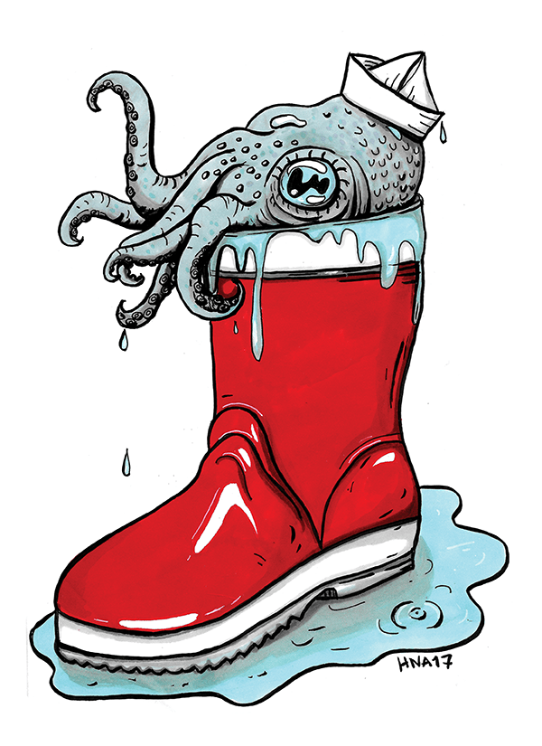 värikäs juliste huumori mustekala saapas