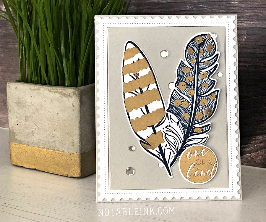 Masculine card with Altenew Golden Feather Stamp Set