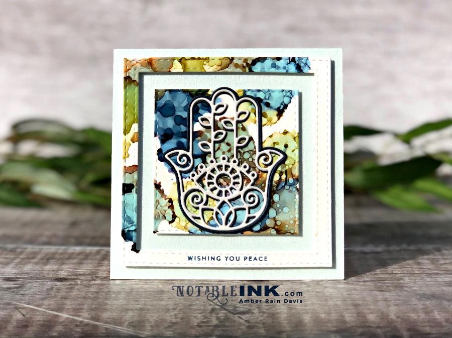 Alcohol Ink & Hamsa Die Card