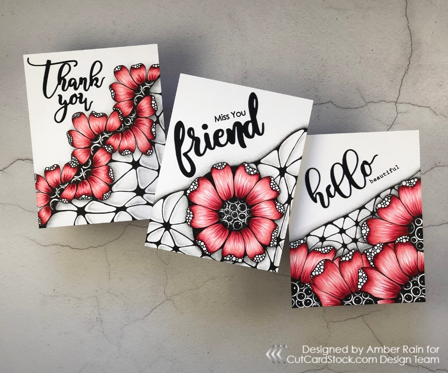 Set of 3 Zentangle® Cards with Copic Coloring