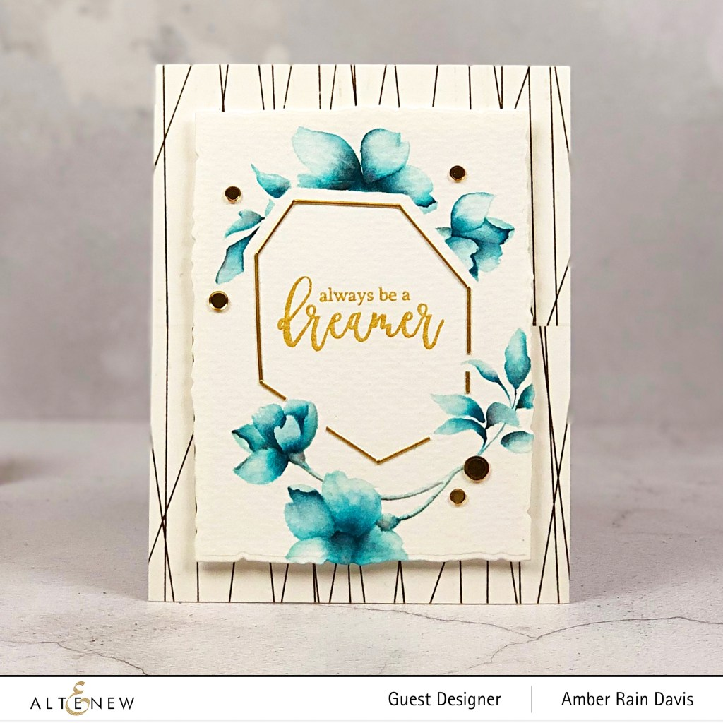 No-line Watercolor with Altenew Pen Sketched Flowers & Geometric Frames Die